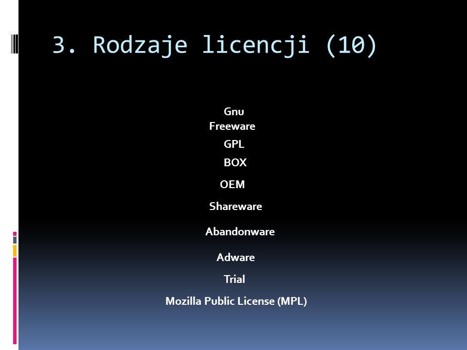 3. Rodzaje licencji (10) Gnu Freeware GPL BOX OEM Shareware