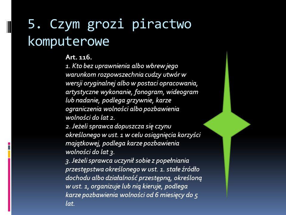 5. Czym grozi piractwo komputerowe