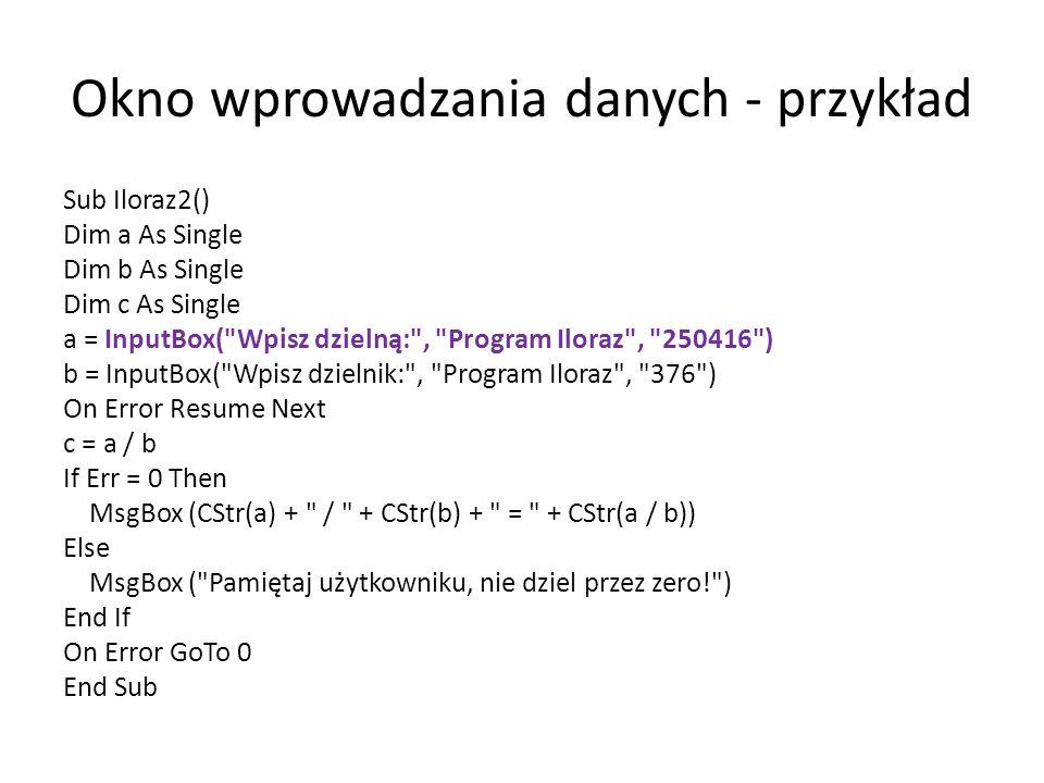 Okno wprowadzania danych - przykład