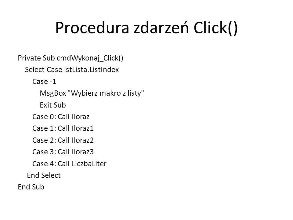 Procedura zdarzeń Click()