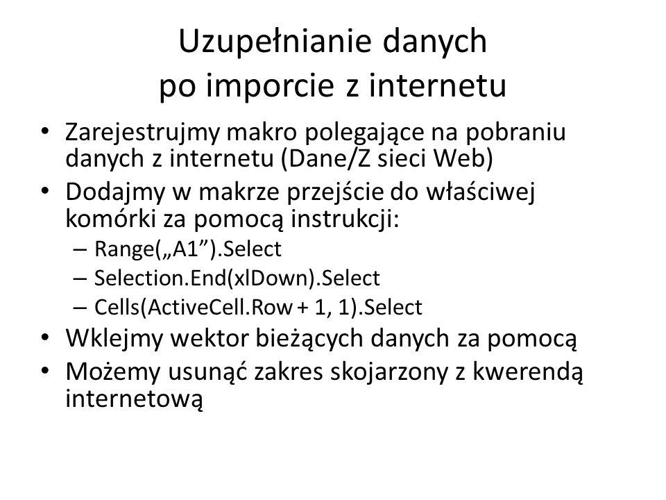 Uzupełnianie danych po imporcie z internetu