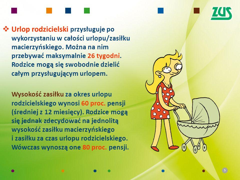 Urlop rodzicielski przysługuje po wykorzystaniu w całości urlopu/zasiłku macierzyńskiego. Można na nim przebywać maksymalnie 26 tygodni. Rodzice mogą się swobodnie dzielić całym przysługującym urlopem.