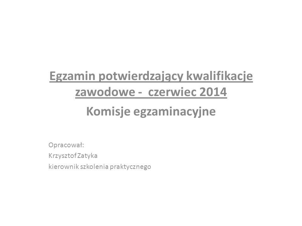 Egzamin potwierdzający kwalifikacje zawodowe - czerwiec 2014