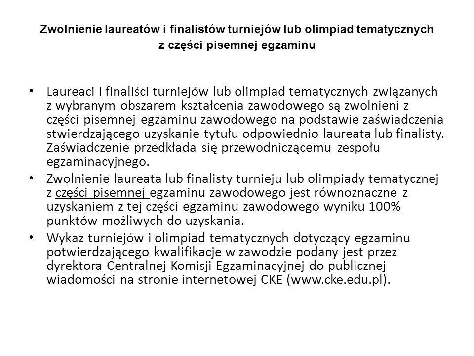 Zwolnienie laureatów i finalistów turniejów lub olimpiad tematycznych z części pisemnej egzaminu