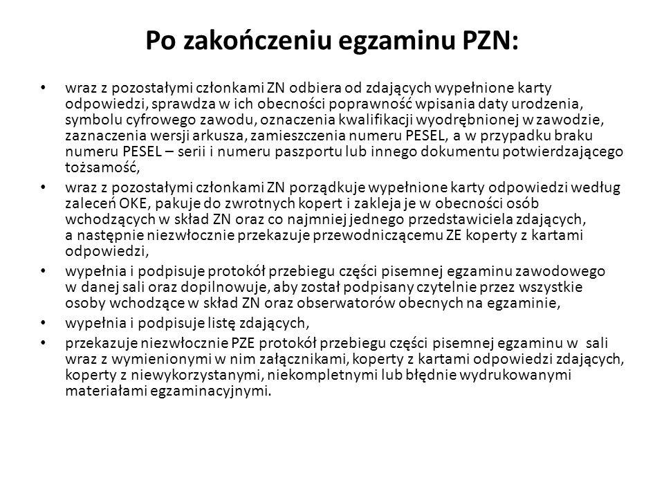 Po zakończeniu egzaminu PZN: