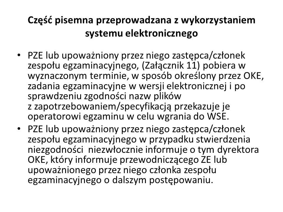 Część pisemna przeprowadzana z wykorzystaniem systemu elektronicznego