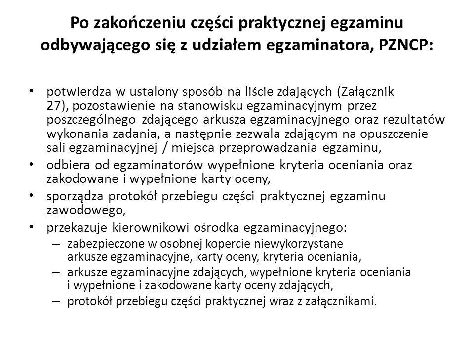 Po zakończeniu części praktycznej egzaminu odbywającego się z udziałem egzaminatora, PZNCP: