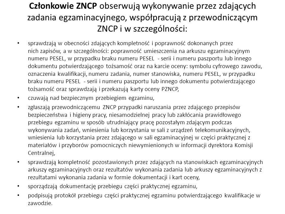 Członkowie ZNCP obserwują wykonywanie przez zdających zadania egzaminacyjnego, współpracują z przewodniczącym ZNCP i w szczególności: