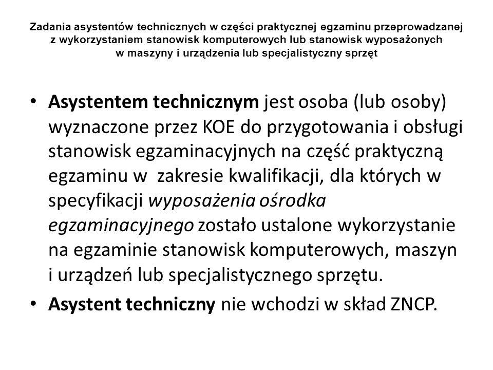 Asystent techniczny nie wchodzi w skład ZNCP.