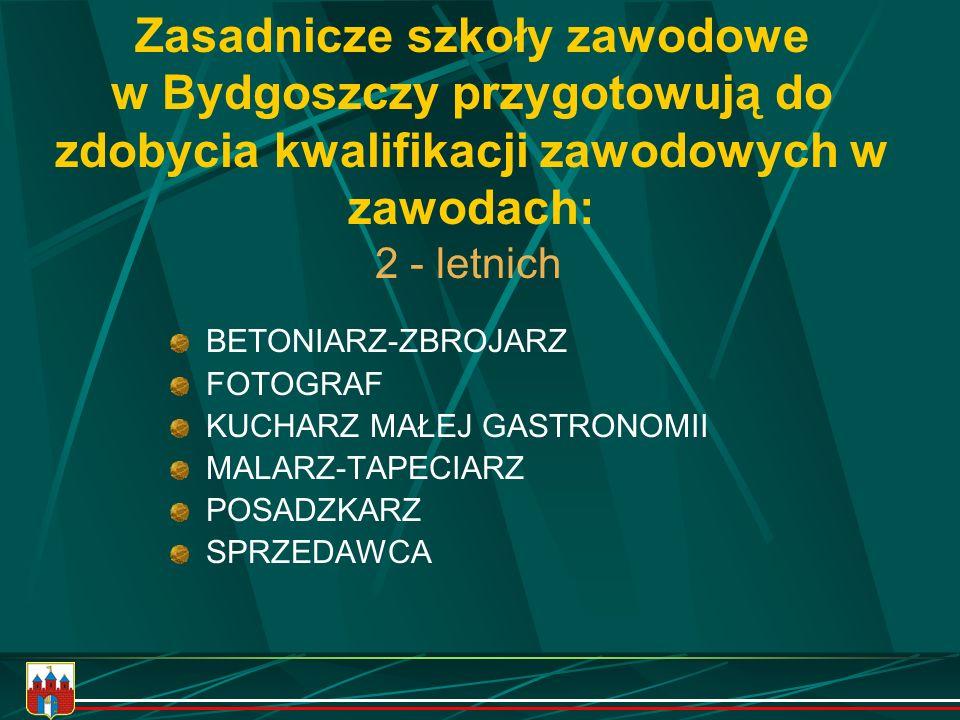 Zasadnicze szkoły zawodowe w Bydgoszczy przygotowują do zdobycia kwalifikacji zawodowych w zawodach: