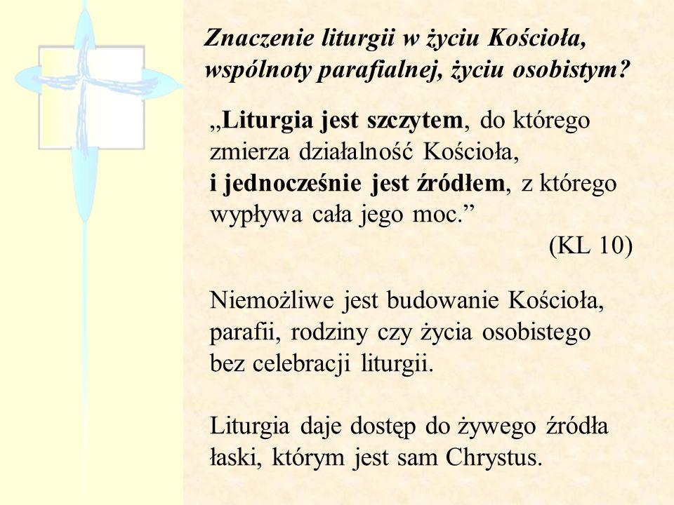 Znaczenie liturgii w życiu Kościoła, wspólnoty parafialnej, życiu osobistym
