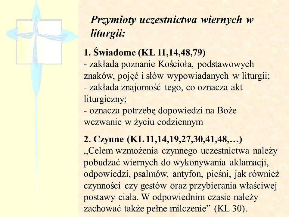 Przymioty uczestnictwa wiernych w liturgii:
