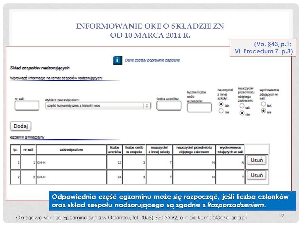 Informowanie OKE o składzie ZN od 10 marca 2014 r.