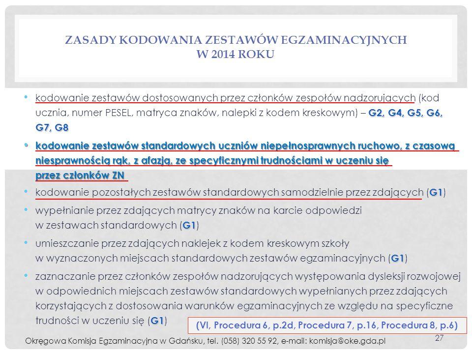 Zasady kodowania zestawów egzaminacyjnych w 2014 roku