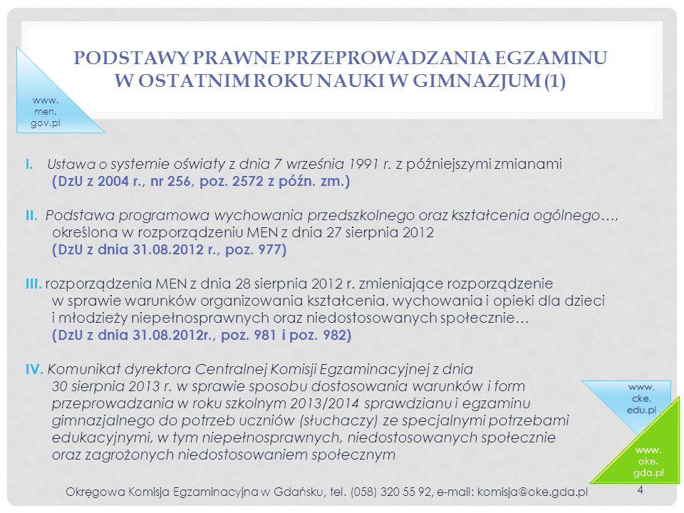 Podstawy prawne przeprowadzania egzaminu w ostatnim roku nauki w gimnazjum (1)