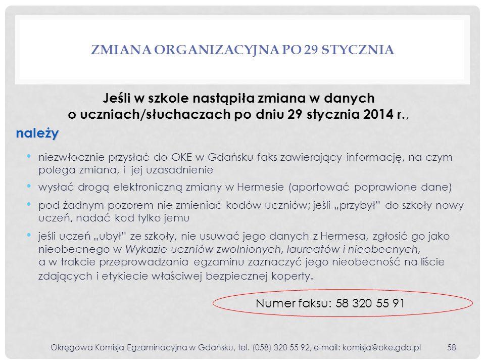 Zmiana organizacyjna po 29 stycznia