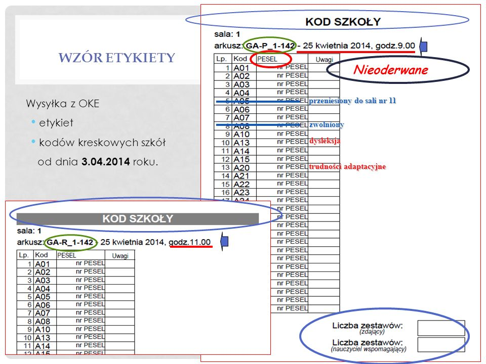 Wzór etykiety Nieoderwane Wysyłka z OKE etykiet kodów kreskowych szkół
