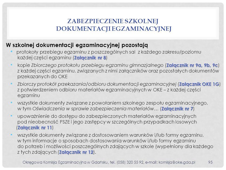 Zabezpieczenie szkolnej dokumentacji egzaminacyjnej
