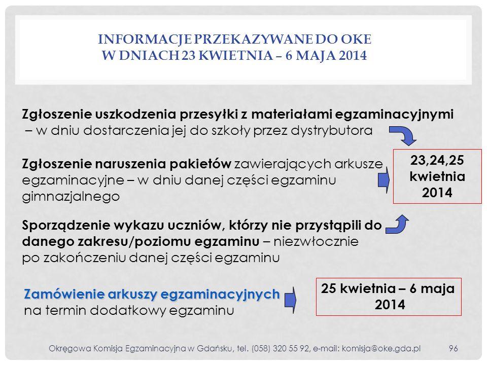 Informacje przekazywane do OKE w dniach 23 kwietnia – 6 maja 2014