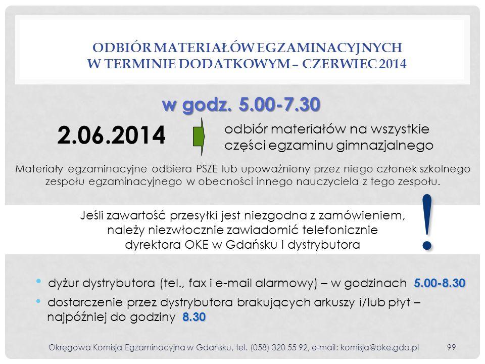 Odbiór materiałów egzaminacyjnych w terminie dodatkowym – czerwiec 2014