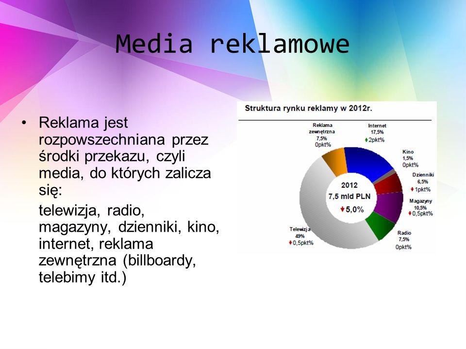 Media reklamowe Reklama jest rozpowszechniana przez środki przekazu, czyli media, do których zalicza się: