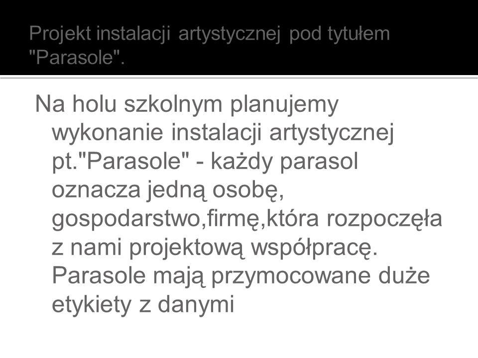 Projekt instalacji artystycznej pod tytułem Parasole .