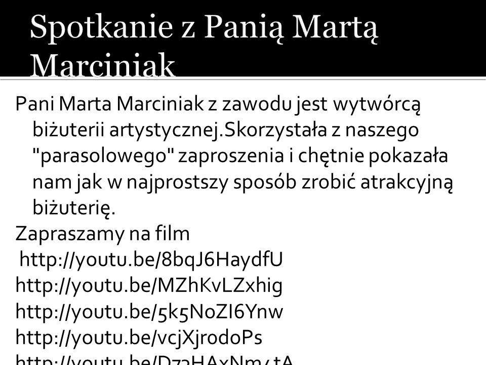 Spotkanie z Panią Martą Marciniak
