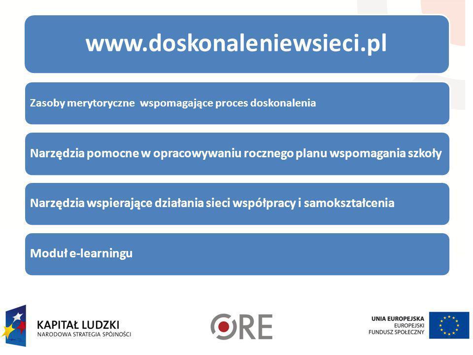 www.doskonaleniewsieci.pl Zasoby merytoryczne wspomagające proces doskonalenia. Narzędzia pomocne w opracowywaniu rocznego planu wspomagania szkoły.