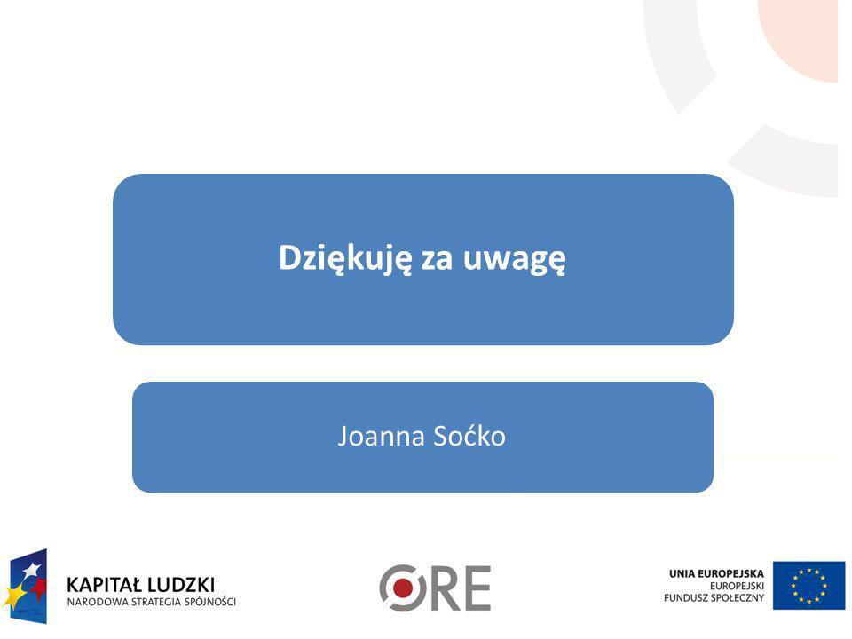 Dziękuję za uwagę Joanna Soćko