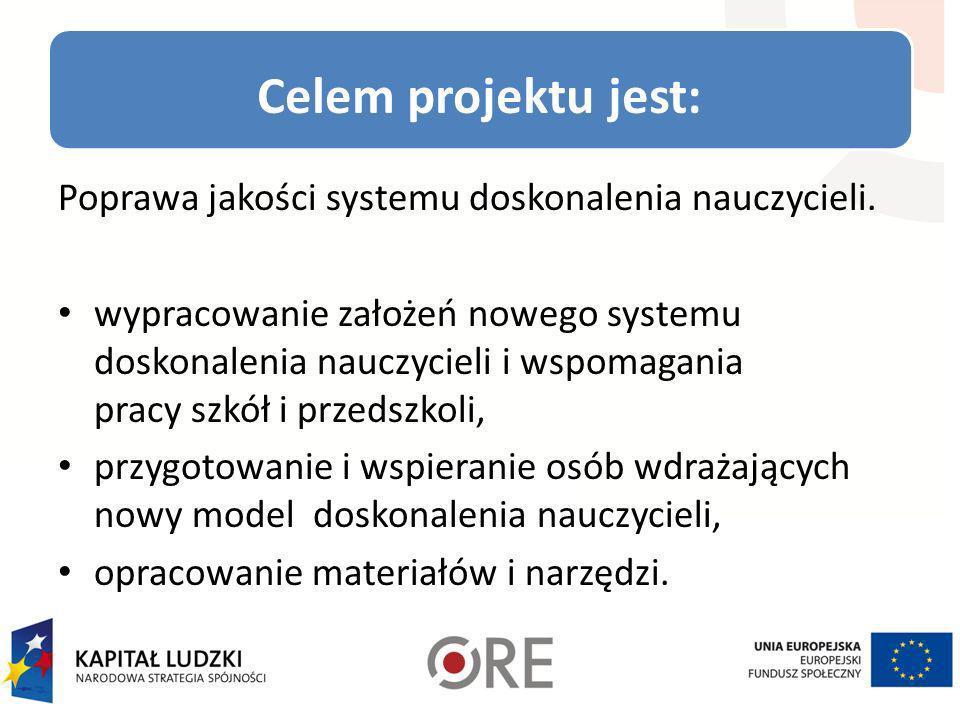 Celem projektu jest: Poprawa jakości systemu doskonalenia nauczycieli.