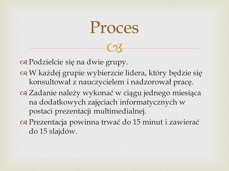 Proces Podzielcie się na dwie grupy.