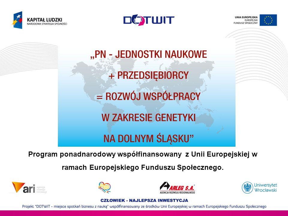 Program ponadnarodowy współfinansowany z Unii Europejskiej w ramach Europejskiego Funduszu Społecznego.