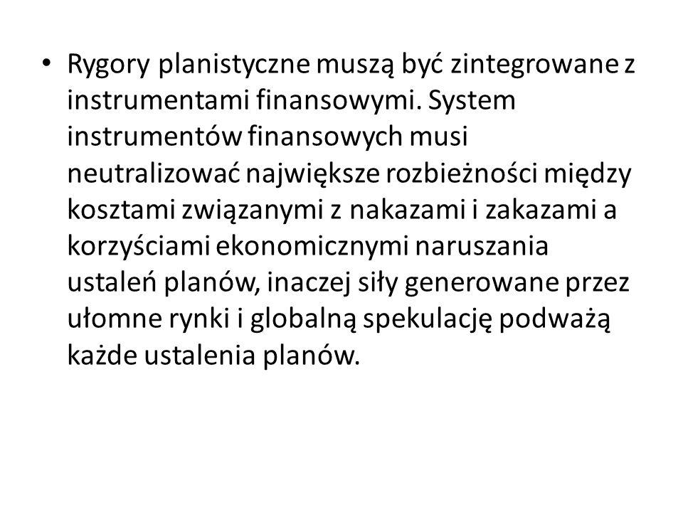 Rygory planistyczne muszą być zintegrowane z instrumentami finansowymi