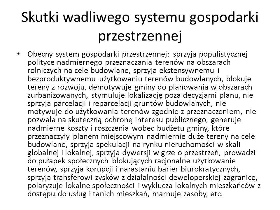 Skutki wadliwego systemu gospodarki przestrzennej