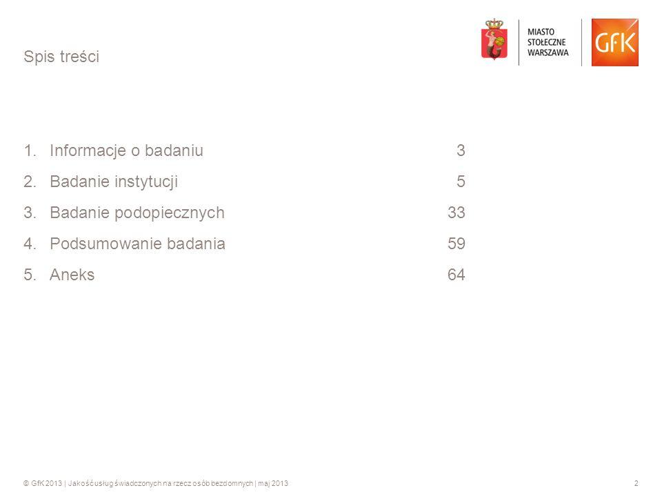 Spis treści Informacje o badaniu 3. Badanie instytucji 5. Badanie podopiecznych 33. Podsumowanie badania 59.