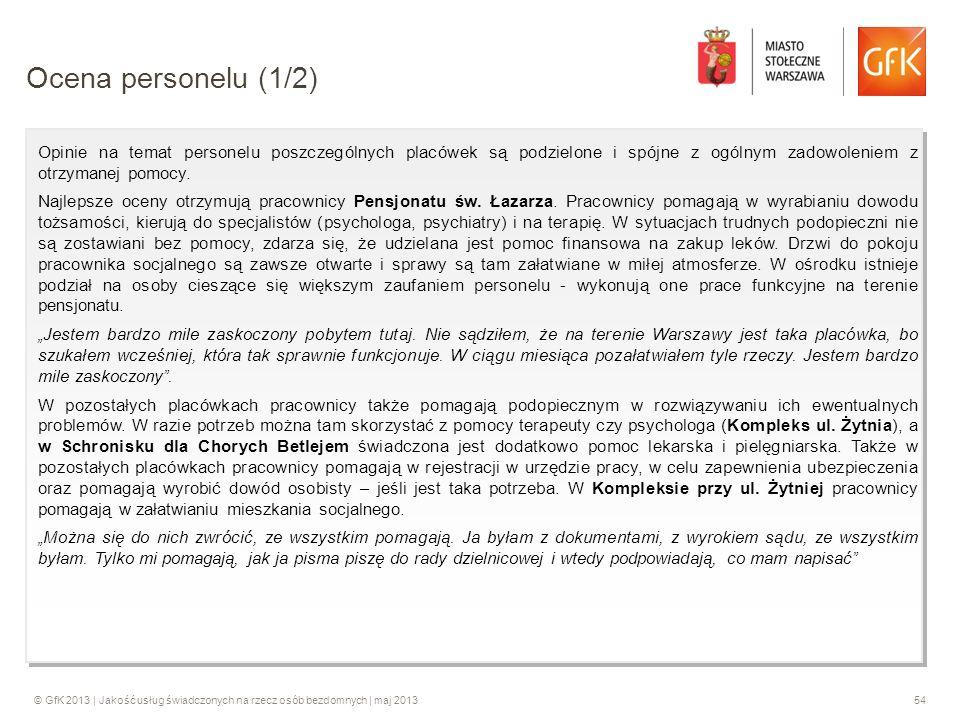 Ocena personelu (1/2) Opinie na temat personelu poszczególnych placówek są podzielone i spójne z ogólnym zadowoleniem z otrzymanej pomocy.