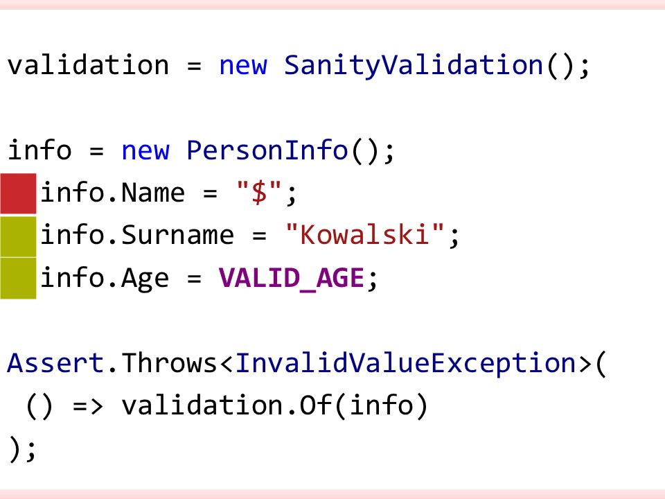 validation = new SanityValidation(); info = new PersonInfo(); info