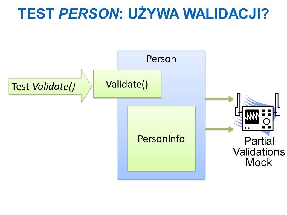 Test Person: używa walidacji