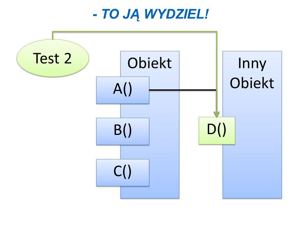 - To ją wydziel! Test 2 Obiekt Inny Obiekt A() B() D() C()
