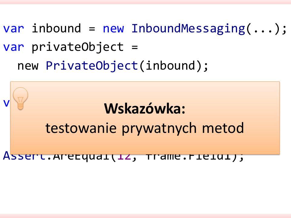 testowanie prywatnych metod