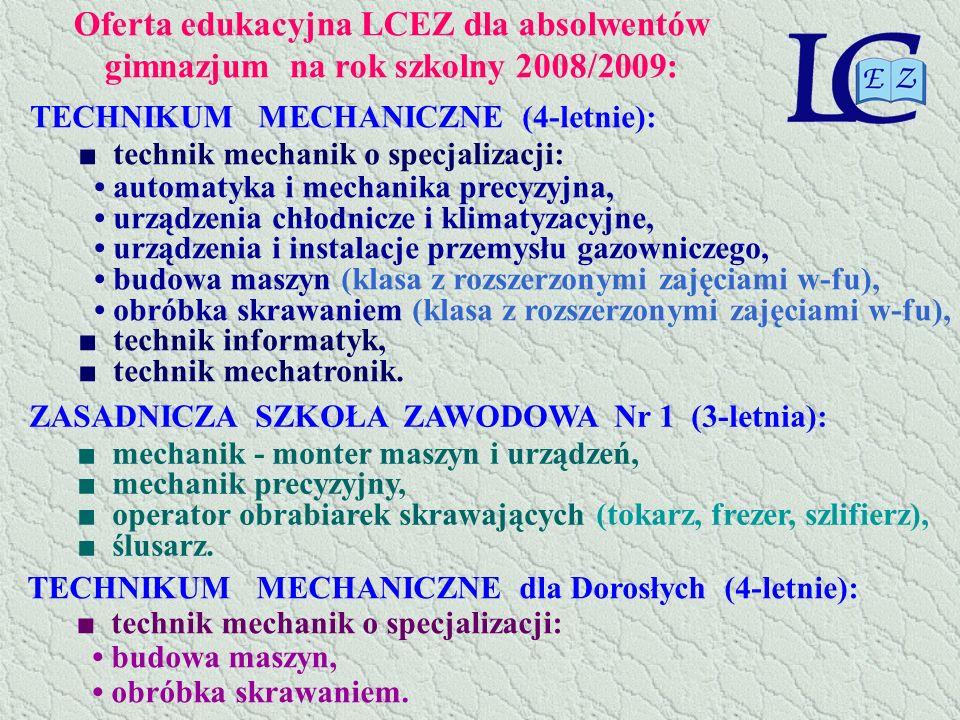 Oferta edukacyjna LCEZ dla absolwentów gimnazjum na rok szkolny 2008/2009: