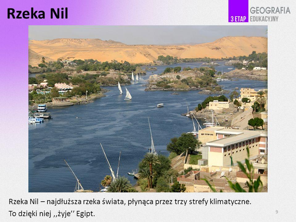 Rzeka Nil Rzeka Nil – najdłuższa rzeka świata, płynąca przez trzy strefy klimatyczne. To dzięki niej ,,żyje'' Egipt.