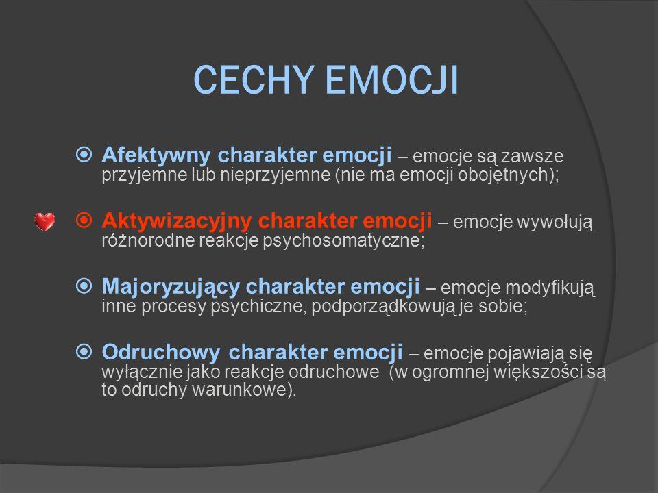 CECHY EMOCJI Afektywny charakter emocji – emocje są zawsze przyjemne lub nieprzyjemne (nie ma emocji obojętnych);