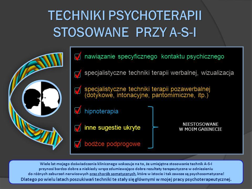 TECHNIKI PSYCHOTERAPII STOSOWANE PRZY A-S-I