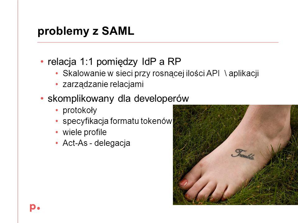 problemy z SAML relacja 1:1 pomiędzy IdP a RP