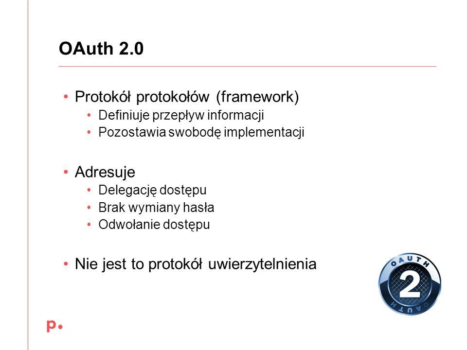 OAuth 2.0 Protokół protokołów (framework) Adresuje