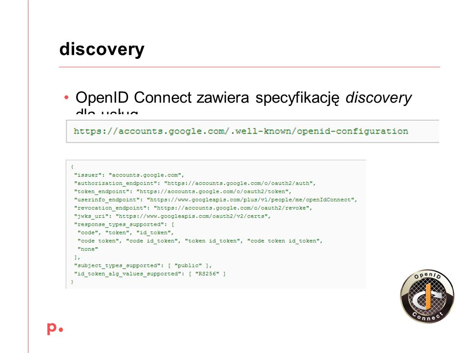 discovery OpenID Connect zawiera specyfikację discovery dla usług