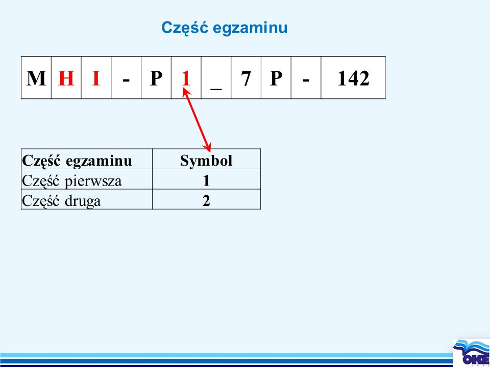 M H I - P 1 _ 7 142 Część egzaminu Część egzaminu Symbol