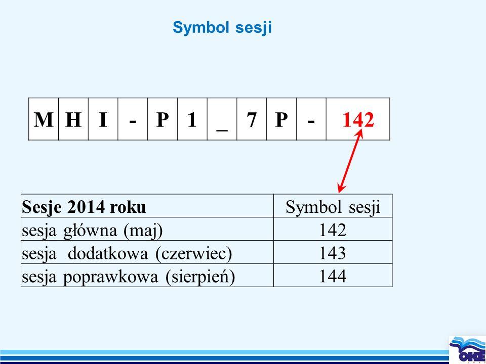 M H I - P 1 _ 7 142 Sesje 2014 roku Symbol sesji sesja główna (maj)