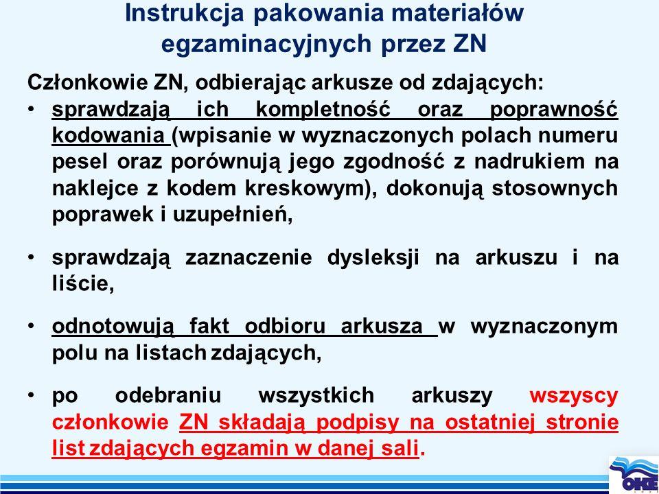 Instrukcja pakowania materiałów egzaminacyjnych przez ZN